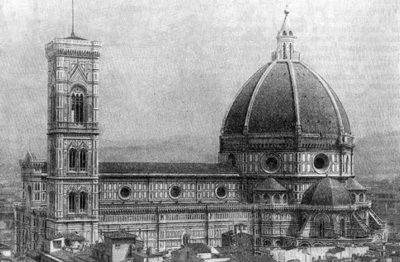 Архитектура эпохи Возрождения в Италии: Флоренция. Собор Санта Мария дель Фьоре, 1296-1470 гг. Арнольфо ди Камбио, Джотто (кампанила), Брунеллеско (купол)