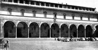Архитектура эпохи Возрождения в Италии: Флоренция. Воспитательный дом. Фасад с площади Сантиссима Аннунциата
