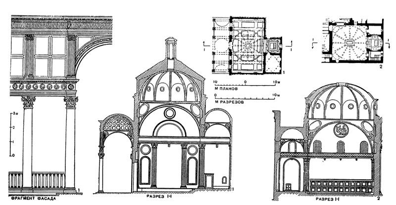 Архитектура эпохи Возрождения в Италии: Флоренция. Брунеллеско. 1 — капелла Пацци, 1430—1443 гг.; 2 — старая сакристия церкви Сан Лоренцо, 1421—1444 гг.