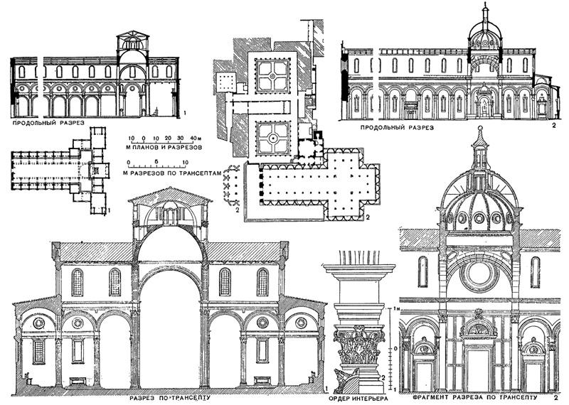 Архитектура эпохи Возрождения в Италии: Флоренция. Брунеллеско. 1 — церковь Сан Лоренцо, с 1421 г.; 2 — церковь Сан Спирито, с 1436 г. (слева от плана показана схема восточного фасада по неосуществленному проекту Брунеллеско)