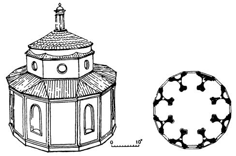 Архитектура эпохи Возрождения в Италии: Флоренция. Оратория Санта Мария дельи Анджели, 1427—1436 гг. Реконструкция по Маркини, план