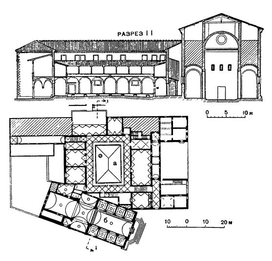 Архитектура эпохи Возрождения в Италии: Флоренция. Аббатство во Фьезоле, 1456—1464 гг.: а — двор; б — церковь