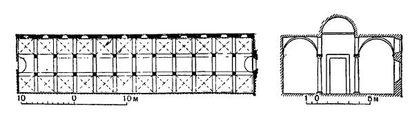 Архитектура эпохи Возрождения в Италии: Монастырь Сан Марко. План и разрез библиотеки (закончена в 1441 г.). Микелоццо