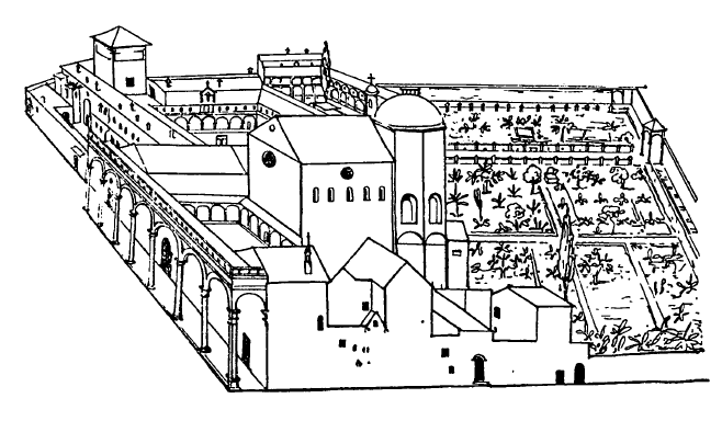 Архитектура эпохи Возрождения в Италии: Флоренция. Монастырь Сантиссима Анунциата, 1444—1455 гг. Микелоццо. Общий вид по современному рисунку