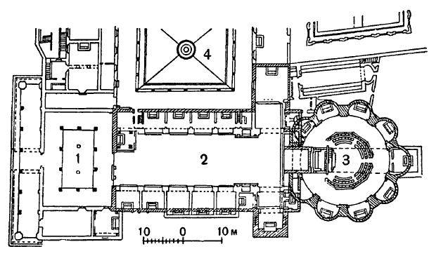 Архитектура эпохи Возрождения в Италии: Флоренция. Монастырь Сантиссима Анунциата, 1444—1455 гг. Микелоццо. План церкви