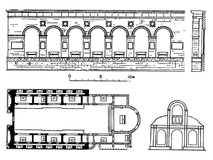 Архитектура эпохи Возрождения в Италии: Римини. Церковь Сан Франческо. План, боковой фасад, схема реконструкции западного фасада