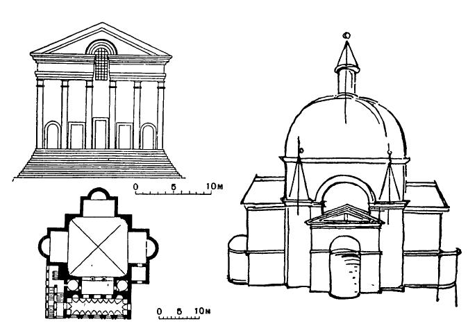 Архитектура эпохи Возрождения в Италии: Мантуя. Церковь Сан Себастьяно, 1460—1473 гг. План и восточный фасад по рисункам XV в.
