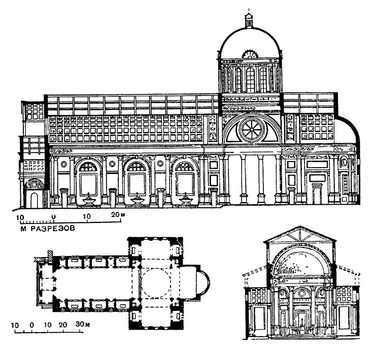 Архитектура эпохи Возрождения в Италии: Мантуя. Церковь Сант Андреа, 1472—1600 гг., Альберти. План, разрезы