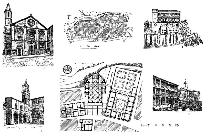Архитектура эпохи Возрождения в Италии: Пиенца, 1450—1463 гг. План города и план центрального ансамбля. Росселино: 1 — собор; 2 — дом епископа; 3 — палаццо Комунале; 4 — палаццо Пикколомини — вид на палаццо со стороны реки, садовые лоджии
