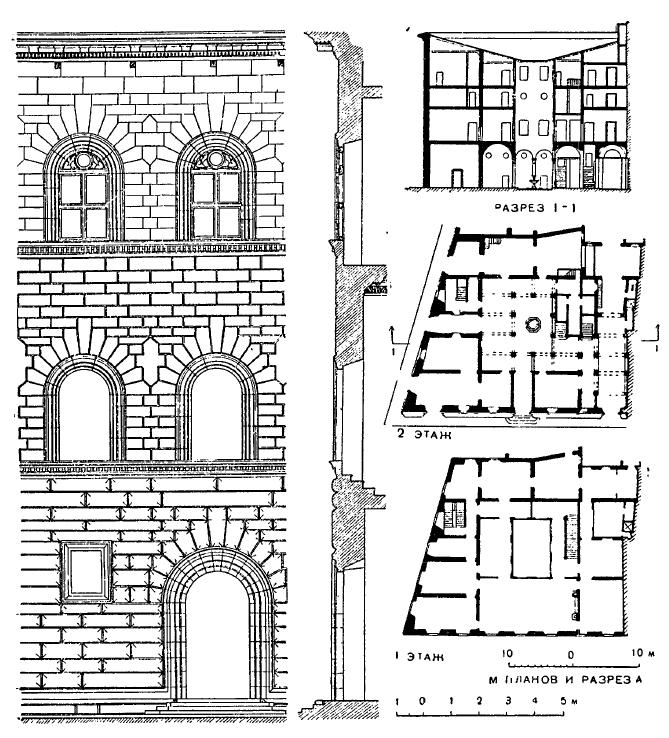 Архитектура эпохи Возрождения в Италии: Флоренция. Палаццо Гонди, 1490—1494 гг., Джулиано да Сангалло. Планы, разрез, фрагмент фасада