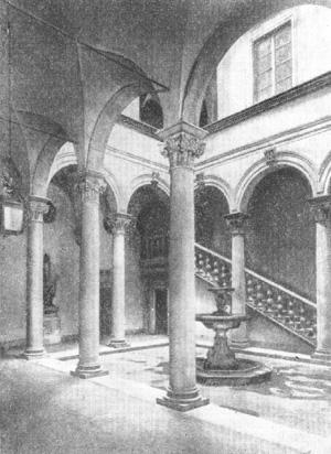 Архитектура эпохи Возрождения в Италии: Флоренция. Палаццо Гонди, 1490—1494 гг., Джулиано да Сангалло. Двор