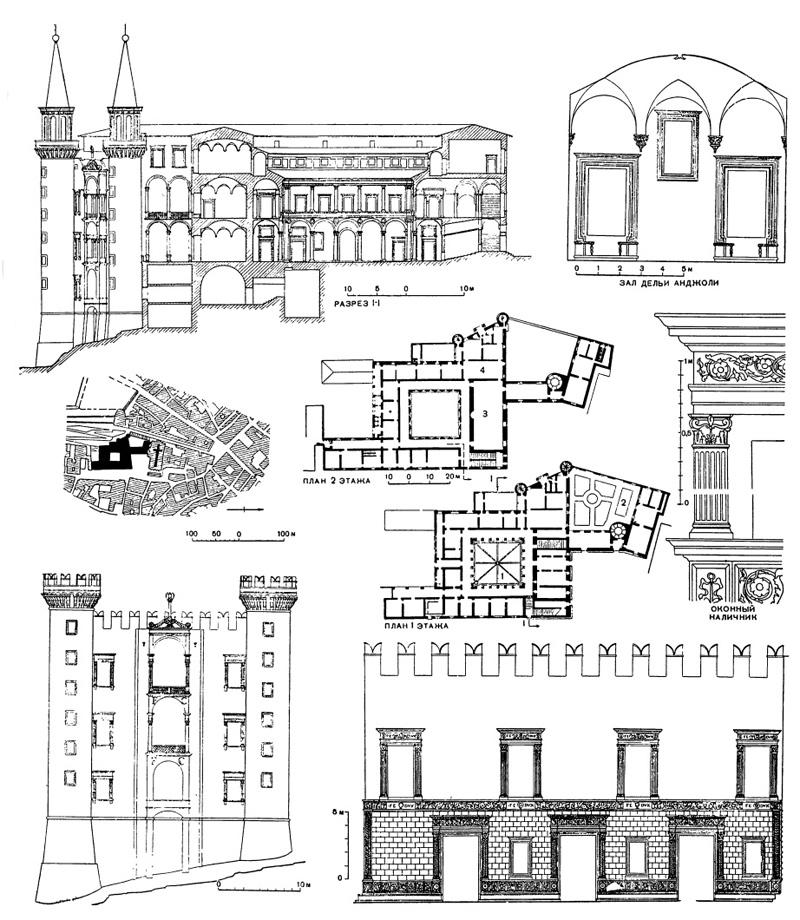 Архитектура эпохи Возрождения в Италии: Урбино. Палаццо Дукале. Фасады (даны в реконструкции), слева — главный (западный), справа — северный; разрезы, деталь, генеральный план и планы этажей