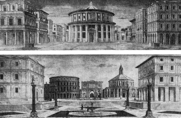 Архитектура эпохи Возрождения в Италии: Ведуты, приписываемые Лучано да Лаурана (верхняя — в Урбино, нижняя — в Балтиморе, США)