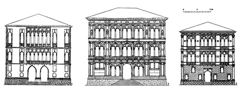 Архитектура эпохи Возрождения в Италии: Венеция: 1— палаццо Пизани; 2 — палаццо Вендрамин-Калерджи, 1481—1509 гг. Моро Кодуччи, Пьетро Ломбардо; 3 — палаццо деи Корнари