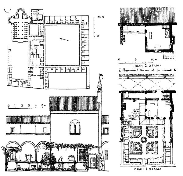 Архитектура эпохи Возрождения в Италии: Павия. Чертоза. План комплекса и чертежи кельи