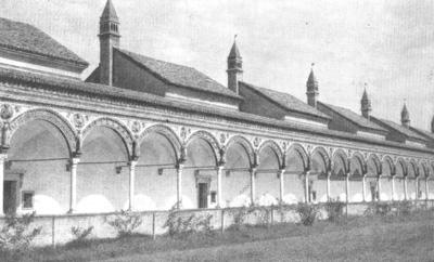 Архитектура эпохи Возрождения в Италии: Павия. Чертоза. Аркада монастырского двора(видны домики-кельи), с 1481 г.