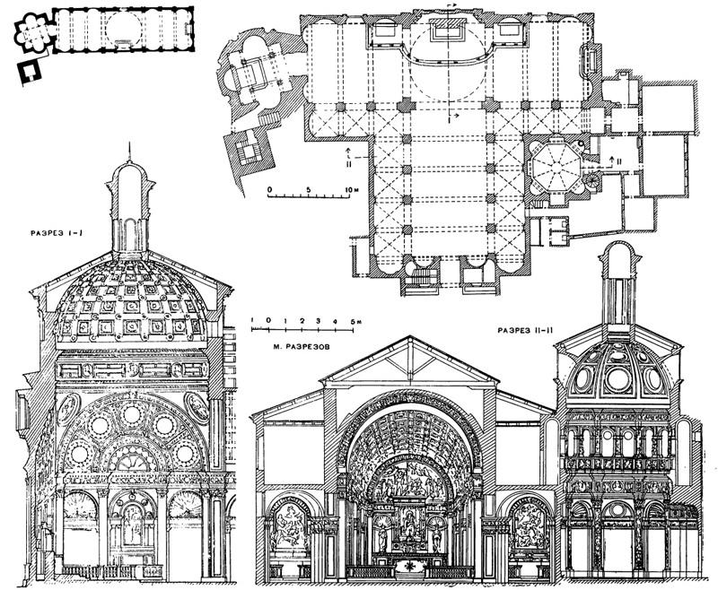 Архитектура эпохи Возрождения в Италии: Милан. Церковь Санта Мария прессо Сан Сатиро, с 1478 г. Браманте.Слева вверху — схема плана 1478 г. в меньшем масштабе