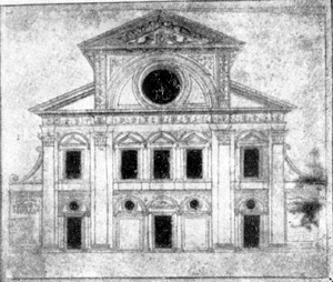 Архитектура эпохи Возрождения в Италии: Милан. Церковь Санта Мария прессо Сан Сатиро. Рисунок фасада церкви Браманте
