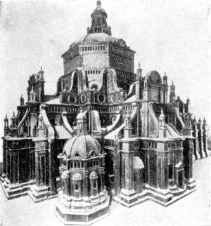 Архитектура эпохи Возрождения в Италии: Павия. Собор, с 1487 г. Браманте, Амадео и др. Модель
