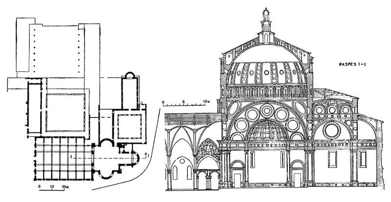 Архитектура эпохи Возрождения в Италии: Милан. План монастыря и церковь Санта Мария делле Грацие. Браманте