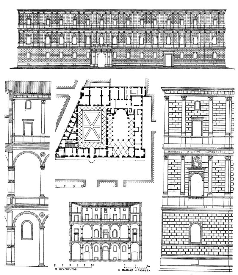 Архитектура эпохи Возрождения в Италии: Рим. Палаццо Канчеллерия, 1483—1526 гг. Бреньо, Браманте и др.(генплан по Летаруи, до пробивки Корсо Витторио-Эммануеле)