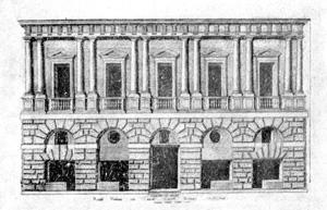 Архитектура эпохи Возрождения в Италии: Рим. «Дом Рафаэля», 1509—1510 гг., Браманте. Гравюра Лафрери 1549 г.