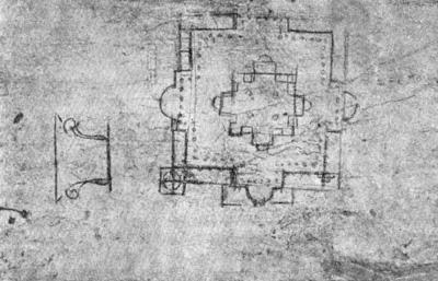 Архитектура эпохи Возрождения в Италии: Рим. Собор св. Петра, с 1505 г. Браманте. Генеральный план собора с перистилем вокруг (набросок Браманте)