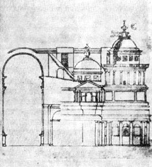 Архитектура эпохи Возрождения в Италии: Рим. Собор св. Петра, с 1505 г. Браманте. Фрагмент проекта по чертежу Меникантонио