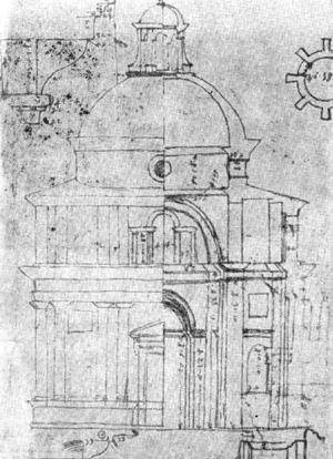 Архитектура эпохи Возрождения в Италии: Рим. Церковь Сант Элиджо дельи Орефичи, начата в 1509 г. Рафаэль.Чертеж С. Перуцци