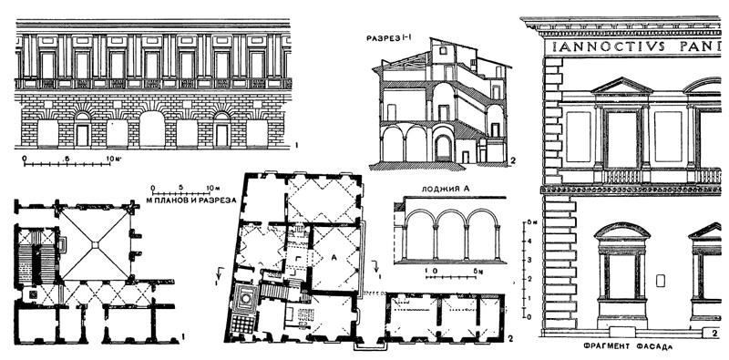 Архитектура эпохи Возрождения в Италии: Рафаэль.1 — Рим. Палаццо Видони, 1515 г.; 2 — Флоренция. Палаццо Пандольфини, 1520 г.