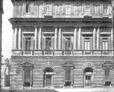 Архитектура эпохи Возрождения в Италии: Рим. Палаццо Видони. Фрагмент фасада (третий этаж надстроен позже)