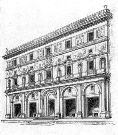 Архитектура эпохи Возрождения в Италии: Рим. Палаццо дель Аквила. Рафаэль. По реконструкции Геймюллера