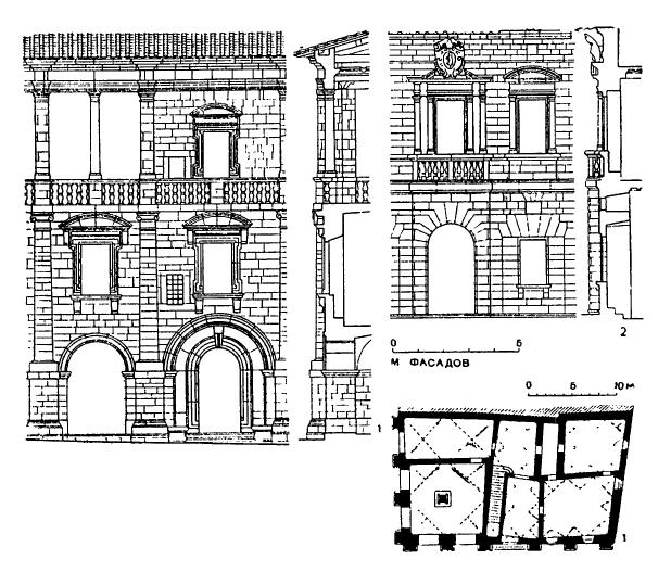 Архитектура эпохи Возрождения в Италии: Монтепульчано. Антонио да Сангалло Старший: 1 — палаццо Таруджи (или Нобиле) с 1518 г.;2 — палаццо дель Пекора, после 1518 г.