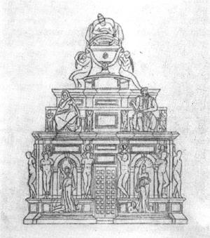 Архитектура эпохи Возрождения в Италии: Рим. Гробница папы Юлия II, реконструкция первого проекта (1505 г.). Микеланджело