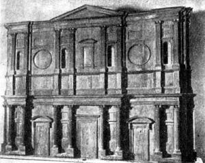 Архитектура эпохи Возрождения в Италии: Флоренция. Деревянная модель для фасада Сан Лоренцо.Баччо д'Аньоло, по рисунку Микеланджело, 1517 г.