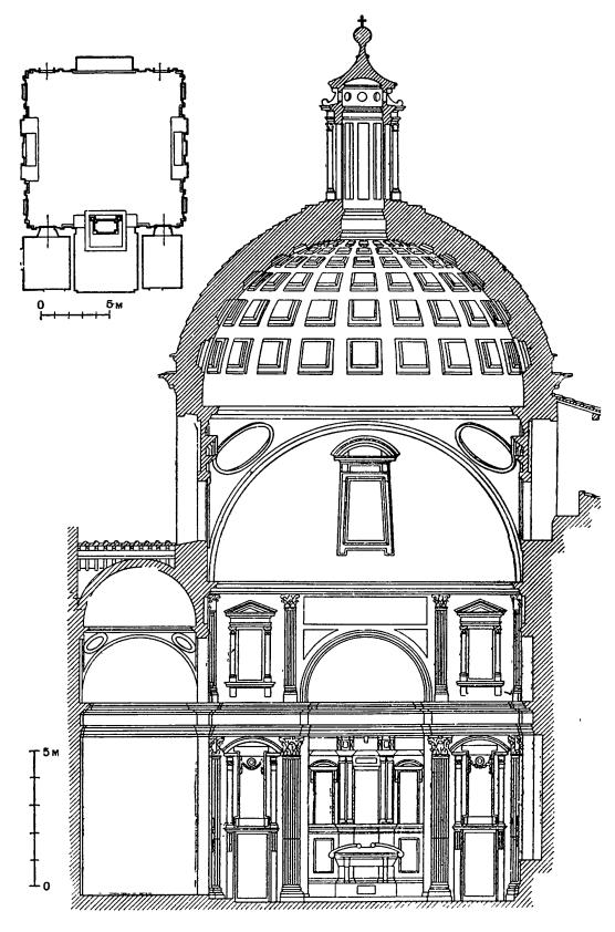 Архитектура эпохи Возрождения в Италии: Флоренция. Капелла Медичи (Новая сакристия) церкви Сан Лоренцо, с 1520 г. Микеланджело. План и разрез