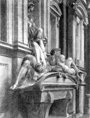 Архитектура эпохи Возрождения в Италии: Флоренция. Капелла Медичи (Новая сакристия) церкви Сан Лоренцо, с 1520 г. Микеланджело. Фрагменты интерьера