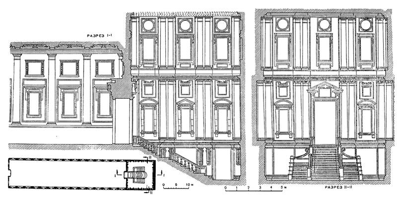Архитектура эпохи Возрождения в Италии: Флоренция. Библиотека Лауренциана, 1559 г. Микеланджело.Разрезы и план