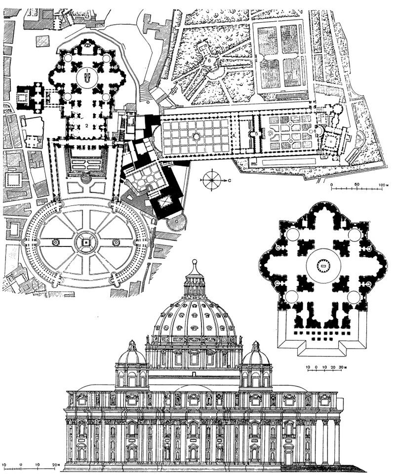 Архитектура эпохи Возрождения в Италии: Рим. Ватикан и собор св. Петра, современное состояние.Внизу — план и фасад собора по проекту Микеланджело