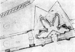 Архитектура эпохи Возрождения в Италии: Флоренция. План бастиона, 1529 г. Рисунок Микеланджело