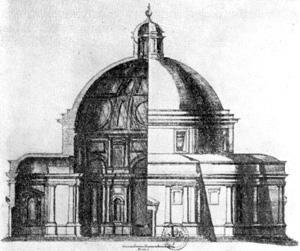 Архитектура эпохи Возрождения в Италии: Рим. Церковь Сан Джованни деи Фьорентини. Проект Микеланджело, 1550—1559 г. Фасад, разрез