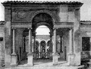 Архитектура эпохи Возрождения в Италии: Вилла папы Юлия III. Пропилеи партерного сада (вид в сторону второго дворика)