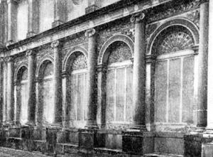 Архитектура эпохи Возрождения в Италии: Вилла папы Юлия III. Боковая стена первого двора (фрагмент)