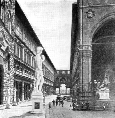 Архитектура эпохи Возрождения в Италии: Флоренция. Улица Уффици, 1560—1574 гг. Вазари