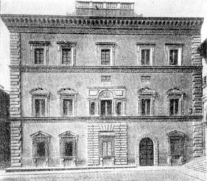 Архитектура эпохи Возрождения в Италии: Флоренция. Палаццо Грифони, 1563 г., Амманати. Фасад с площади Сантиссима Аннунциата