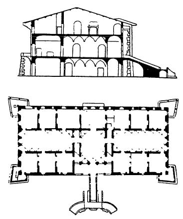 Архитектура эпохи Возрождения в Италии: Синья, близ Флоренции. Вилла Артимино, 1594 г. Буонталенти.План и разрез