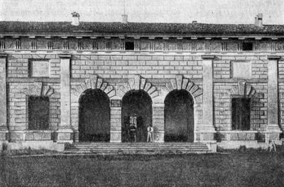 Архитектура эпохи Возрождения в Италии: Мантуя. Палаццо дель Те, 1526—1534 гг. Джулио Романо.Боковой (северный) вход