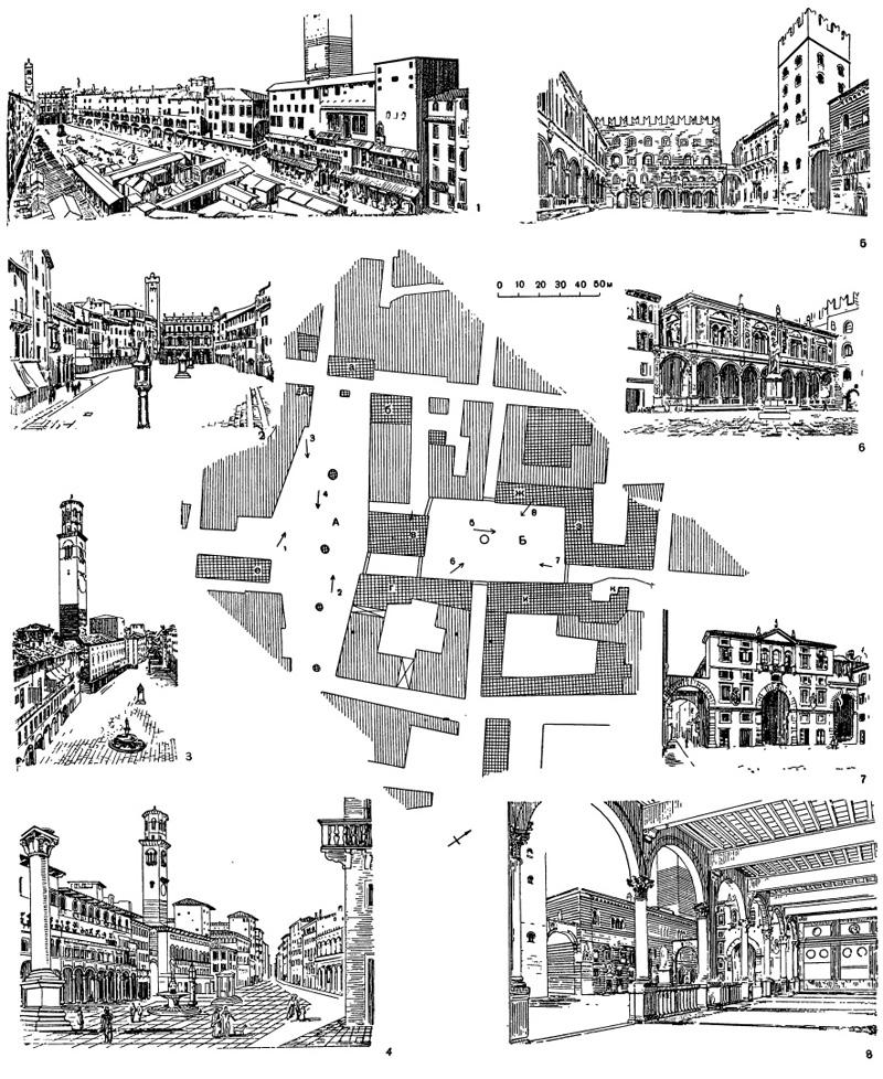 Архитектура эпохи Возрождения в Италии: Верона.А — пьяцца делле Эрбе, Б — пьяцца деи Синьори: а — палаццо Маффеи, б — каза Маццанти, в — палаццо де Джуре-консульти, г — палаццо делла Раджоне (на левом углу — башня Ламберти), д — башня дель Гарделло, е — каза деи Мерканти, ж —палаццо дель Консильо или Лоджа, 1476 — 1493 гг., Фра Джокондо, з — замок Скалиджеров (ныне Префектура), и — Трибунал, к — надгробие Скалиджеров