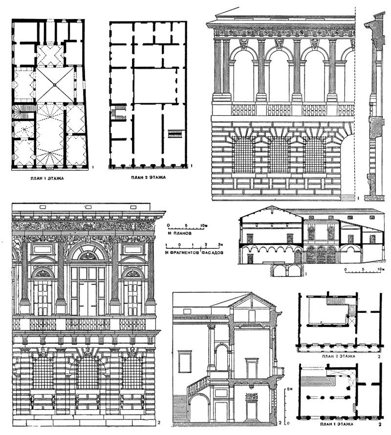 Архитектура эпохи Возрождения в Италии: Верона. Микеле Санмикели: 1 — палаццо Помпеи, 1531 г.; 2— палаццо Бевилаква, 1531 г.