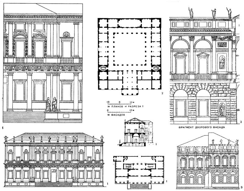 Архитектура эпохи Возрождения в Италии: Виченца. Палладио. 1— палаццо Кьерикати, с 1550 г.; 2 — палаццо Тьене, с 1550 г.;3 — палаццо Изеппо да Порто, 1552 г.(слева по обмерам Б.Скамоцци, справа — по чертежу Палладио)